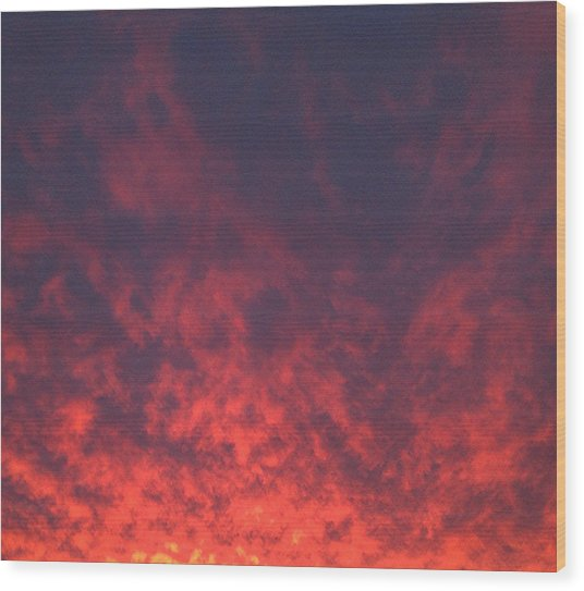 Clouds Ablaze Wood Print