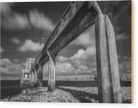 Clouds Above The Bridge Wood Print