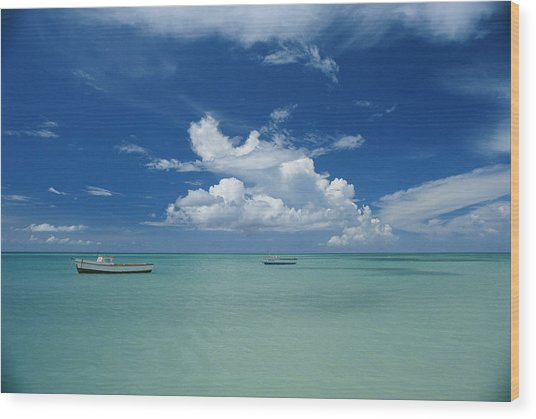 Clouds And Boats, Aruba Wood Print by Skip Brown
