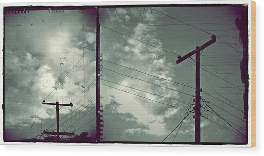Clouds And Power Lines Wood Print