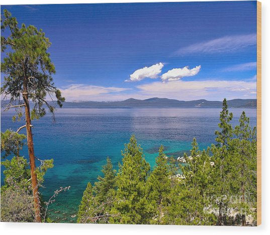 Clouds And Silence - Lake Tahoe Wood Print