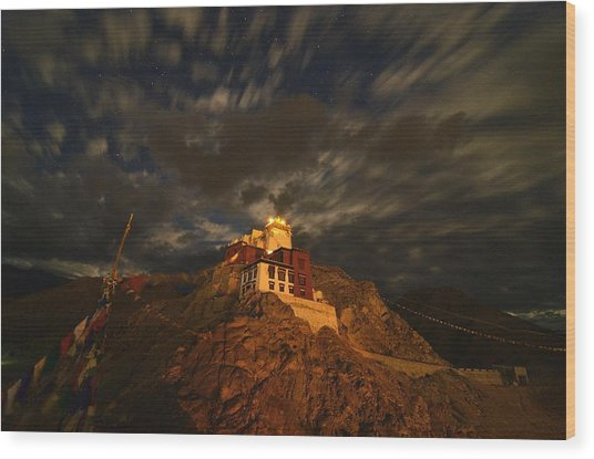 Clouds And Stars Over Tsemo Wood Print by Aaron Bedell