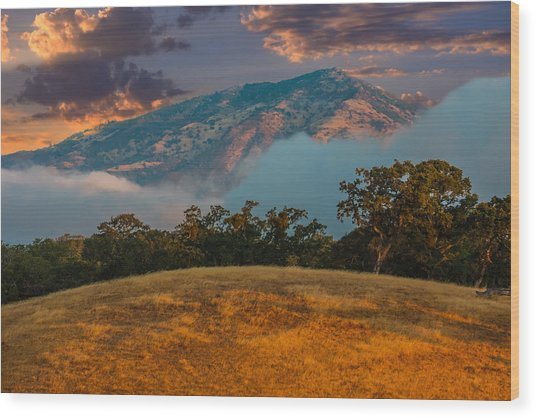 Clouds Fog And Mt Diablo Wood Print