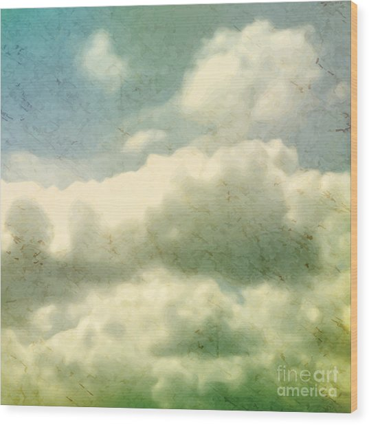 Clouds. Grungy Vector Illustration Wood Print
