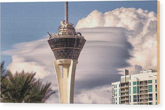 Clouds Make Vegas Wood Print
