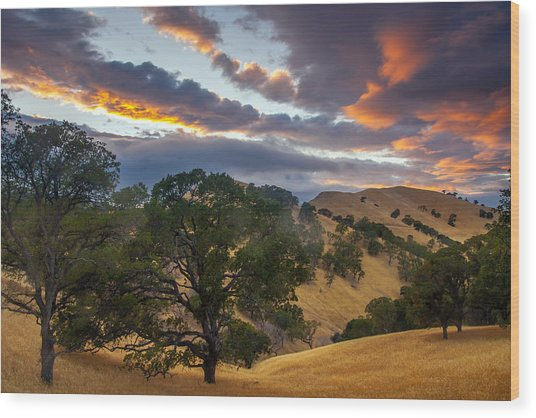 Clouds Over Black Diamond At Sunset Wood Print