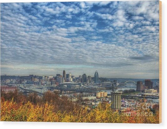 Clouds Over Cincinnati Wood Print