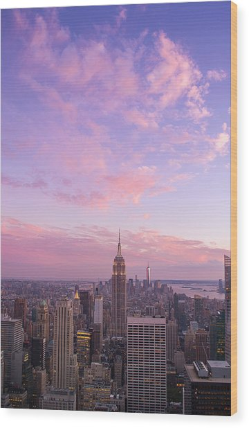 clouds over Empire State Wood Print