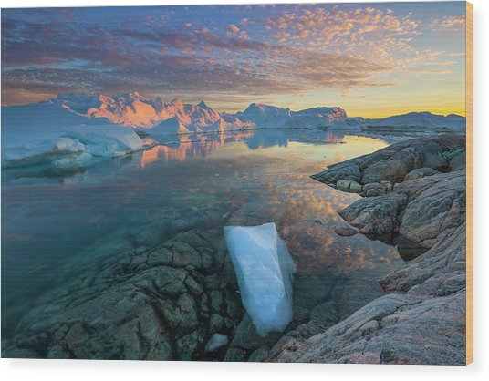 Clouds Over Ilulissat Icefjord Wood Print by Johnathan Ampersand Esper