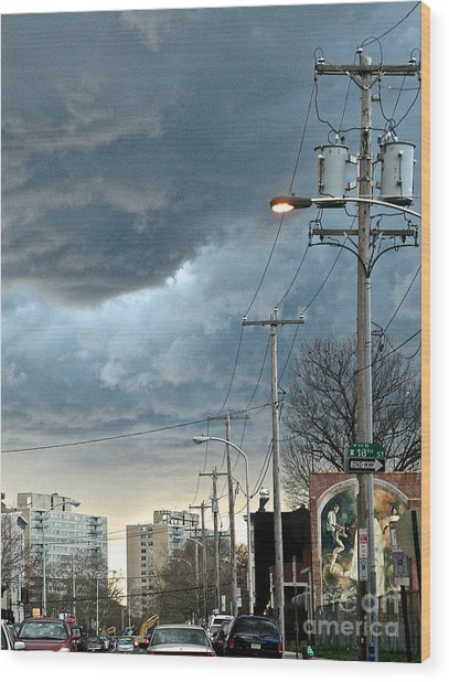 Clouds Over Philadelphia Wood Print