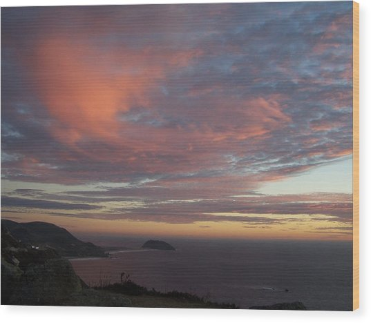 Clouds Over Pt Sur Wood Print