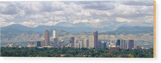 Clouds Over Skyline And Mountains Wood Print