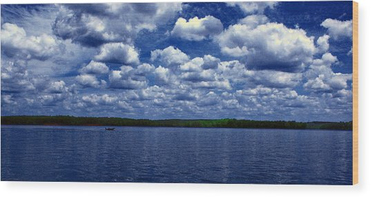 Clouds Over The Catawba River Wood Print