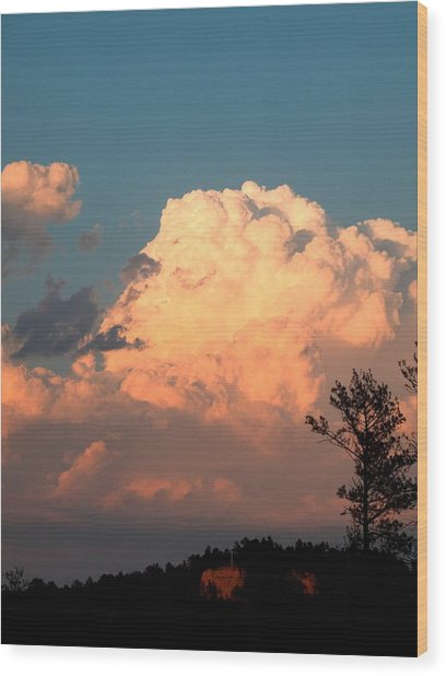 Clouds Over The Cross Wood Print
