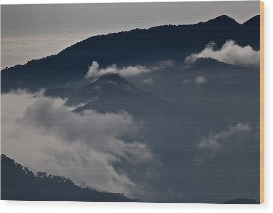 Clouds Over The Mounatins Wood Print