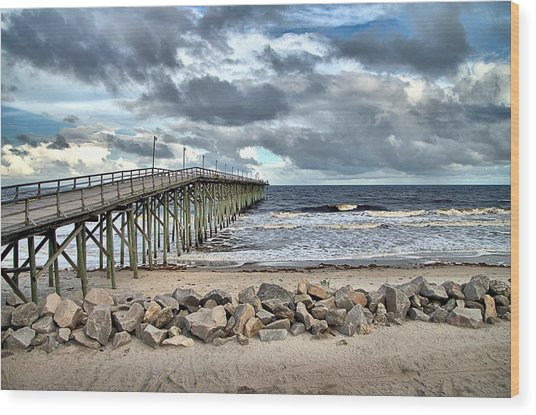 Clouds Over The Pier Wood Print