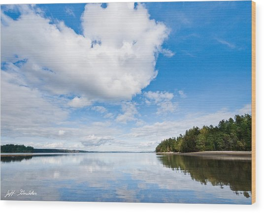Clouds Reflected In Puget Sound Wood Print