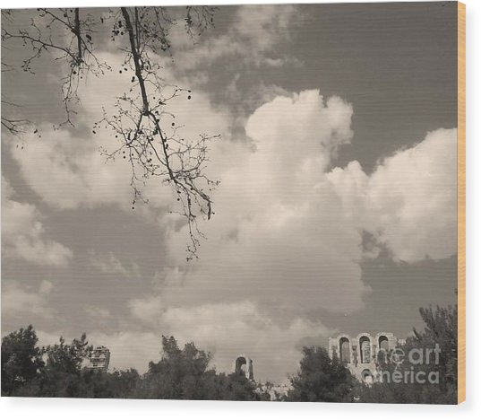 Clouds -shapes In Black-1 Wood Print by Katerina Kostaki