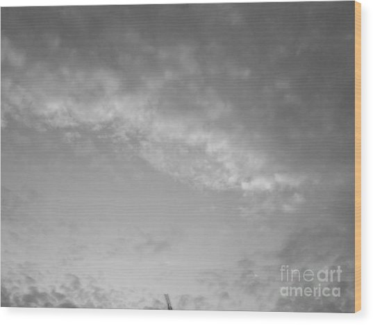 Clouds -shapes In Black-2 Wood Print by Katerina Kostaki
