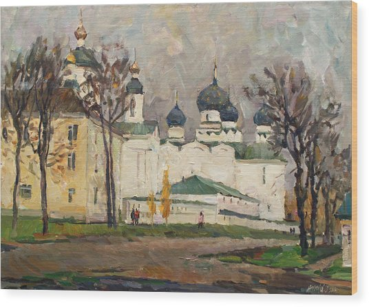 Cloudy At Uglich Wood Print
