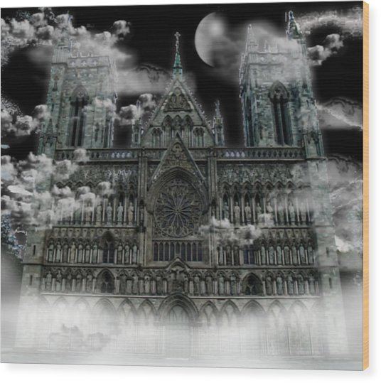 Cloudy Cathedral Wood Print