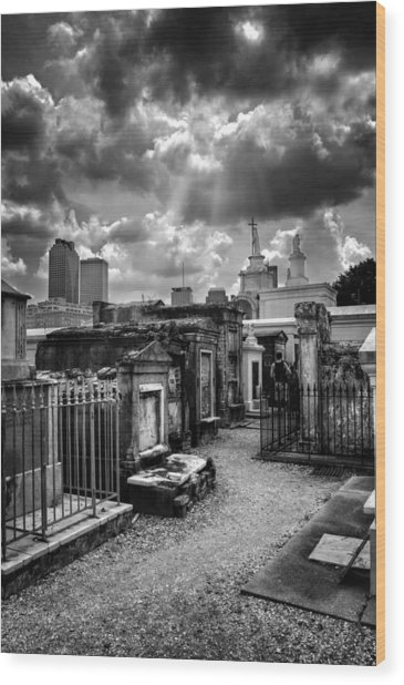 Cloudy Day At St. Louis Cemetery In Black And White Wood Print