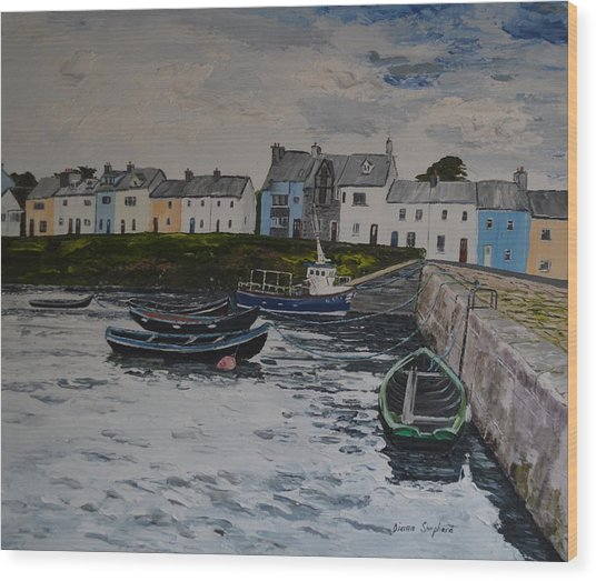 Cloudy Day Roundstone Connemara Wood Print