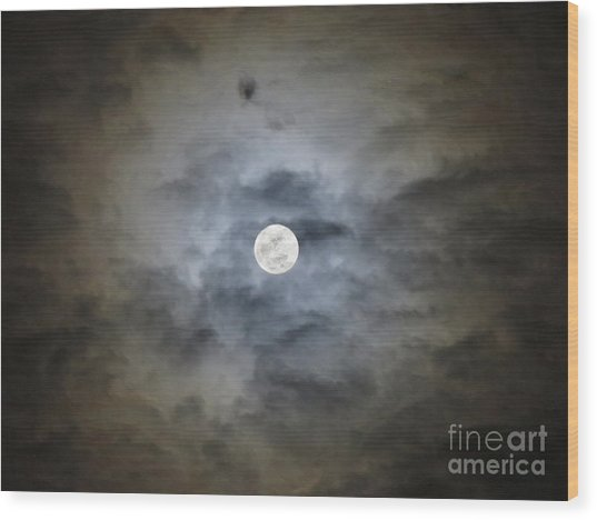 Cloudy Moon 2 Wood Print