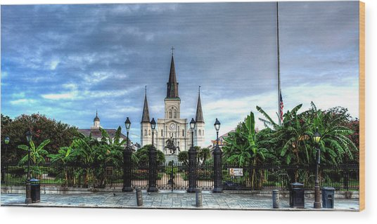 Cloudy Morning At  St. Louis Cathedral Wood Print