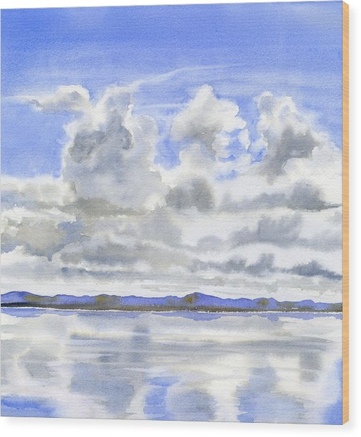 Cloudy Sky With Reflections Wood Print