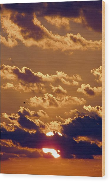 Key West Cloudy Sunset Wood Print