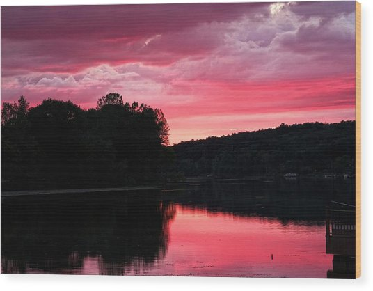 Cloudy Sunset Wood Print