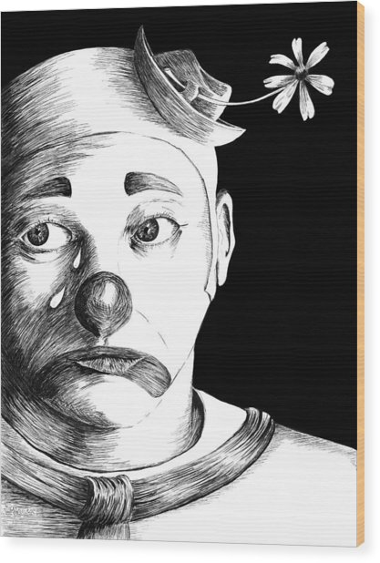 Clown Of Tears Wood Print