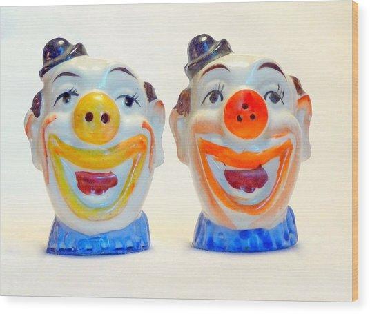 Vintage Clown Salt And Pepper Shakers Wood Print
