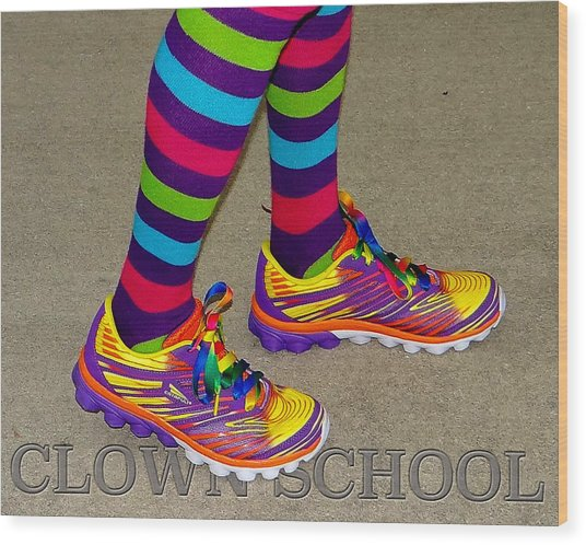 Clown School Wood Print