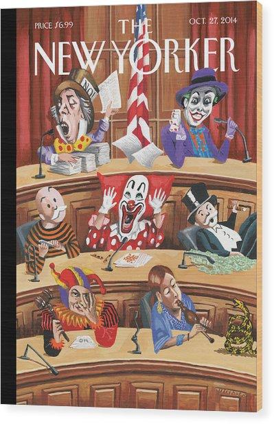 Fun And Games In Congress Wood Print