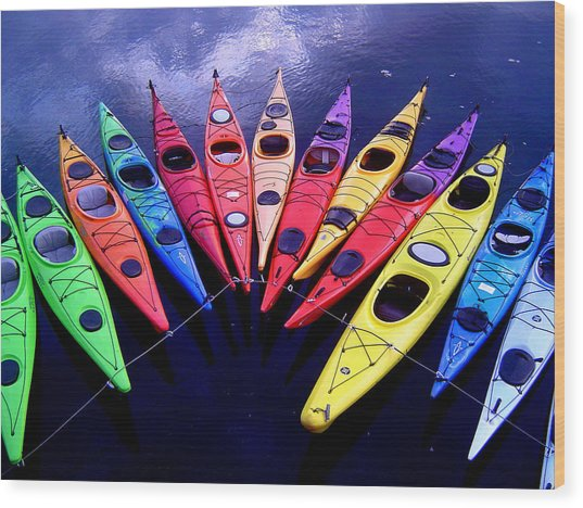 Clustered Kayaks Wood Print