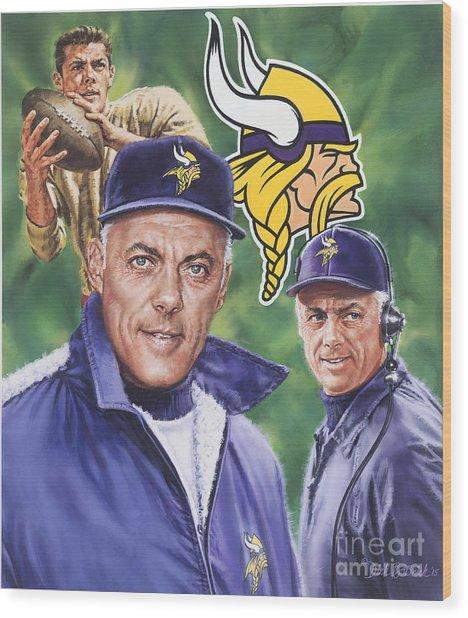 Coach Bud Grant Wood Print