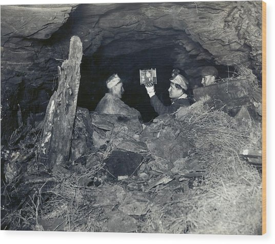 Coal Miners With A Canary Wood Print by Miriam And Ira D. Wallach Division Of Art, Prints And Photographs/new York Public Library