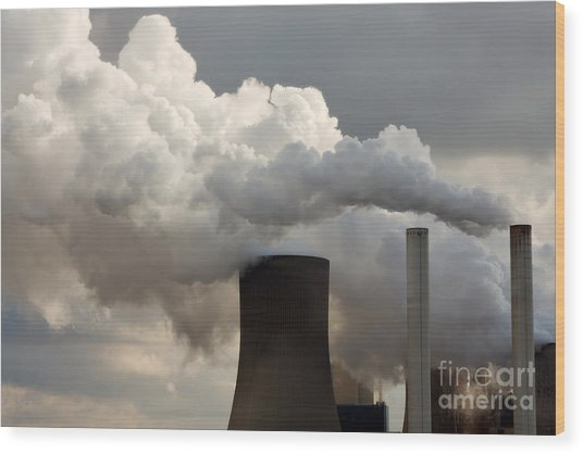 Coal Power Station Blasting Away Wood Print
