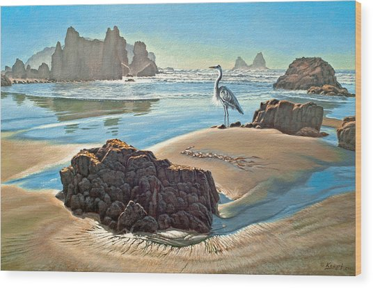Coast With Great Blue Heron Wood Print