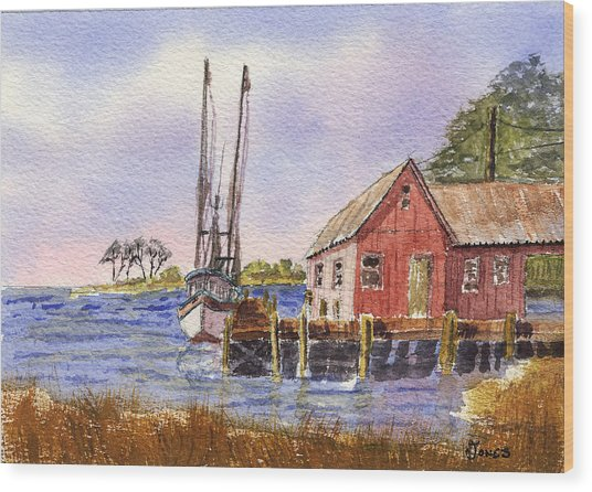 Shrimp Boat - Boat House - Coastal Dock Wood Print by Barry Jones