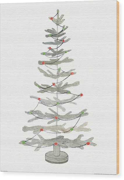 Coastal Holiday Tree II Red Wood Print