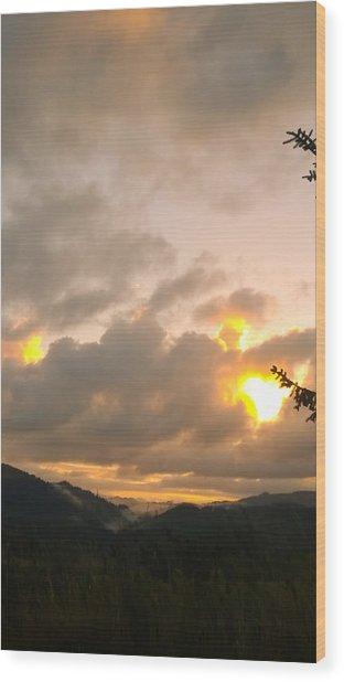 Coastal Mountain Sunrise Wood Print