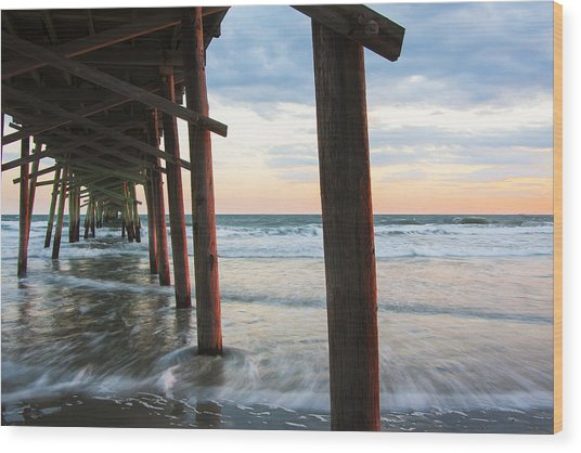 Coastal Sunset At Oceanana Fishing Pier Wood Print
