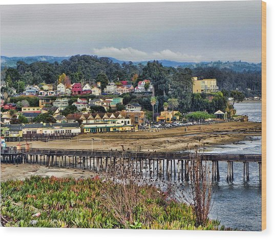 California Coastal Town Wood Print