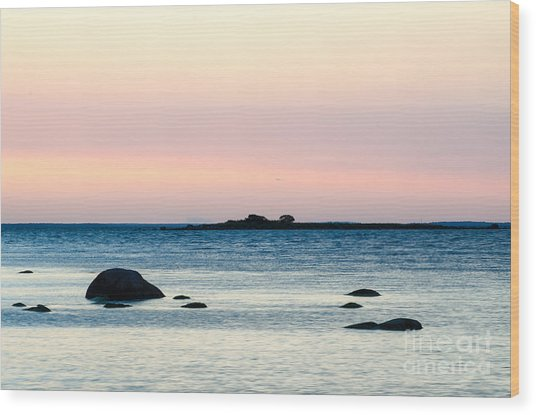 Coastal Twilight View Wood Print