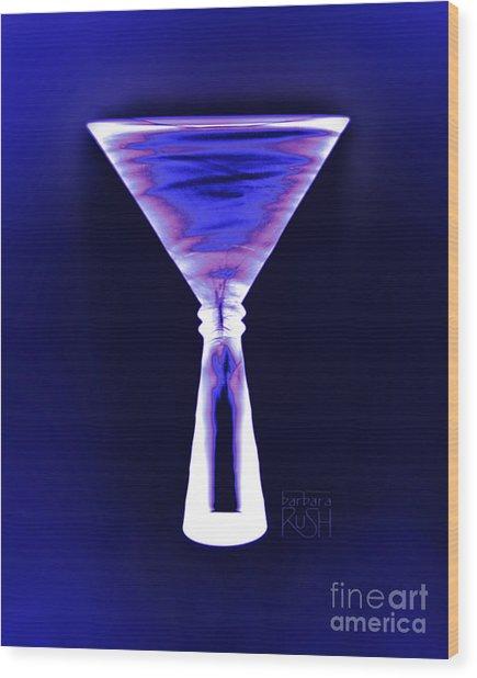 Cobalt With Purple Fringe Martini Wood Print