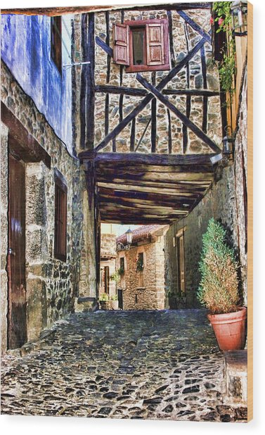 Cobble Streets Of Potes Spain By Diana Sainz Wood Print