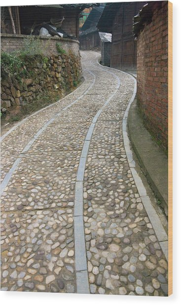 Cobbled Street In The Miao Village Wood Print